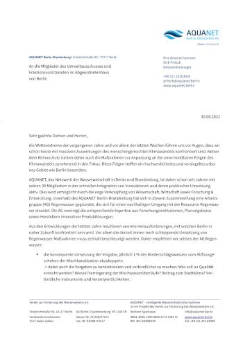 Miniaturansicht des Briefs der AG Regenwasser