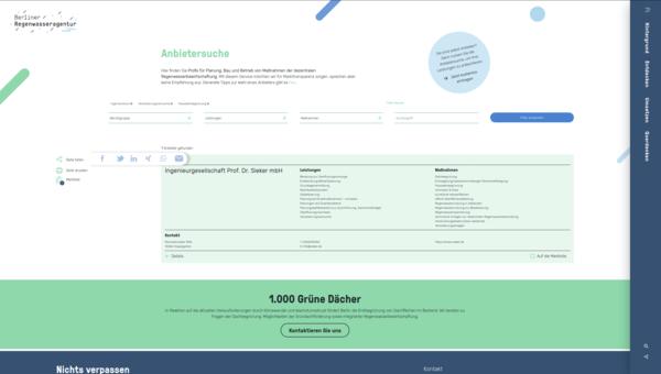 Screenshot Anbietersuche Regenwasseragentur