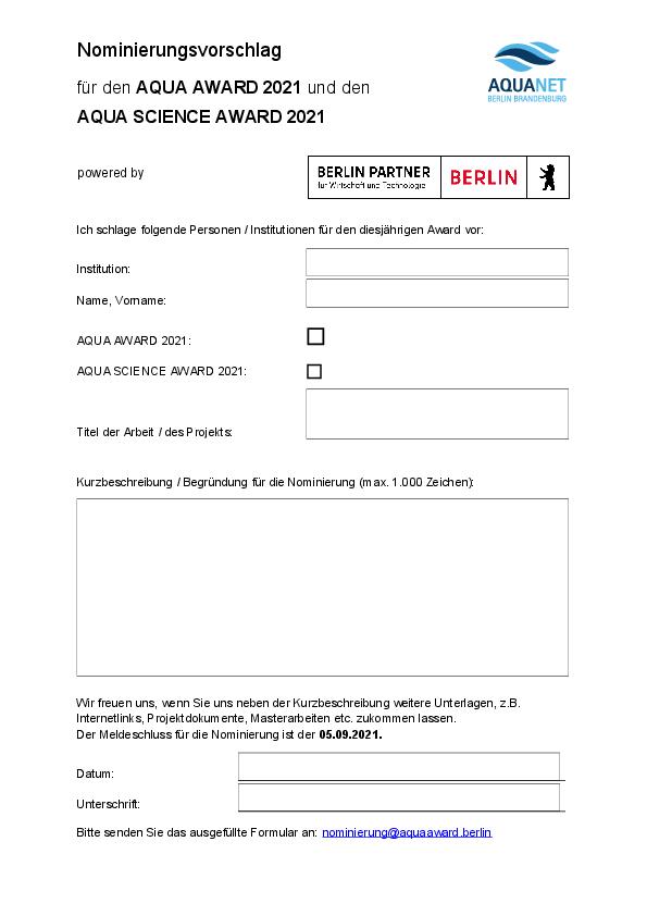 Formular Nominierungsvorschlag AQUA AWARD 2021